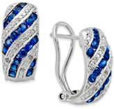 Macy's Sapphire (1 ct. t.w.) and Diamond Accent Omega Earrings in Sterling Silver