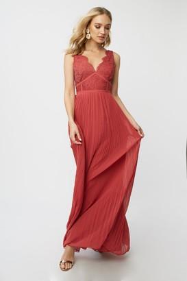 Little Mistress Bridesmaid Luisa Marsala Lace Plunge Maxi Dress