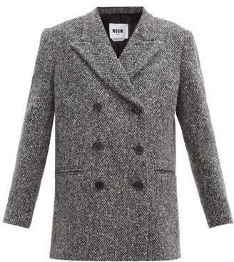 MSGM Double-breasted Wool-tweed Jacket - Grey