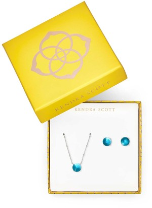 Kendra ScottKendra Scott Jolie Necklace And Earring Silver Gift Set Peacock Blue Illusion