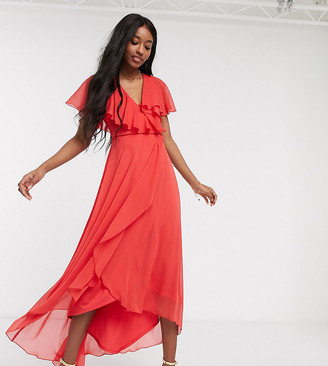 ASOS DESIGN cape back dipped hem maxi dress in red