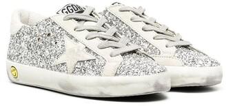 Golden Goose Kids Superstar glitter low-top trainers