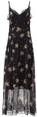 Paco Rabanne Lace-trim Floral-print Chiffon Dress - Black Print