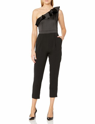 Maggy London Women's Satin and Crepe One Shoulder Jumpsuit