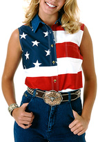 Roper Red American Flag Sleeveless Button-Up