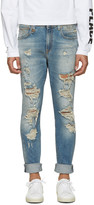 R 13 Blue Distressed Skate Jeans