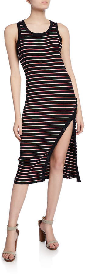 Joie Polymela Striped Tank Dress with Buttons