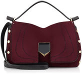 Jimmy Choo LOCKETT/S Bordeaux Stitched Suede and Black Nappa Handbag