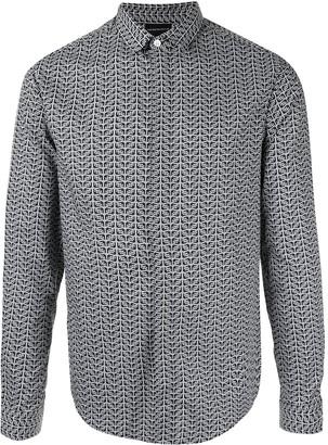 Emporio Armani Long-Sleeved Logo Print Shirt