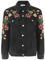 Topshop MOTO Floral Embroidered Denim Jacket