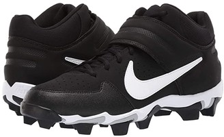 Nike Alpha Huarache Varsity Keystone Mid (Black/White/Black) Men's Cleated Shoes