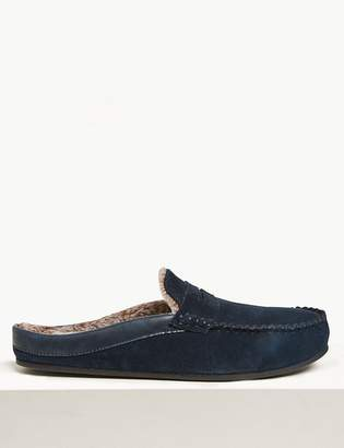 M&S Collection LuxuryMarks and Spencer Suede Fleece Lined Mule Moccasins