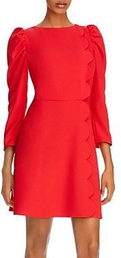 Shoshanna Brielle Scalloped Puff-Sleeve Sheath Dress