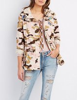 Charlotte Russe Patched Camo Anorak Jacket
