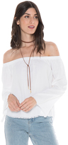 Bella Dahl Frayed Off The Shoulder Top-White-XS