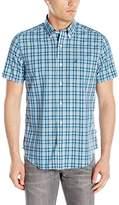Nautica Men's Wrinkle Resistant Marine Plaid Short Sleeve Shirt