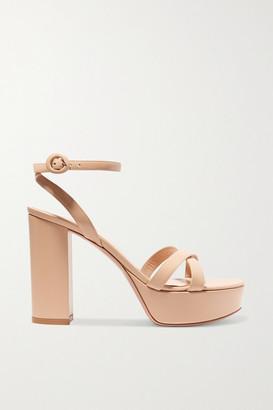 Gianvito Rossi Poppy 70 Leather Platform Sandals - Neutral