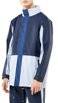 Rains Waterproof Colorblock Tracksuit Jacket with Zip Out Hood