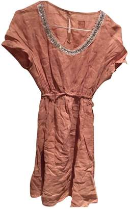 120% Lino Camel Linen Dress for Women