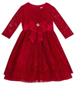 """Rare Editions Little Girl Lace 3/4"""" Sleeve Dress With Mesh Ruffle Detail And Bow"""