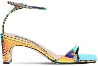 Sergio Rossi 60mm Hologram Snake Print Leather Sandal