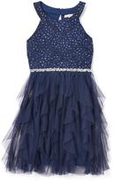 Speechless Navy Lace-Accent Ruffle Yoke Dress - Girls