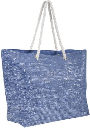 Lazy Beach Bag Ladies Beach Bag Blue Sparkling Design Shoulder Tote Handbag Paper Straw with Rope Handles Matching Colour Lining Phone Pocket Top Zip - Ideal for Holidays Seaside Poolside Shopping Trips 52cm