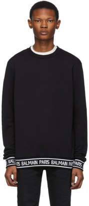 Balmain Black Logo Trim Sweater
