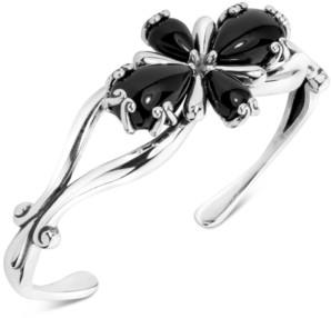 Carolyn Pollack Black Agate Flower Cuff Bracelet in Sterling Silver