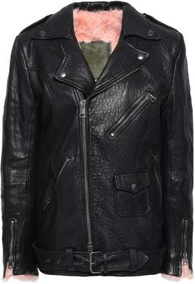 Mr & Mrs Italy Shearling-lined Textured-leather Biker Jacket