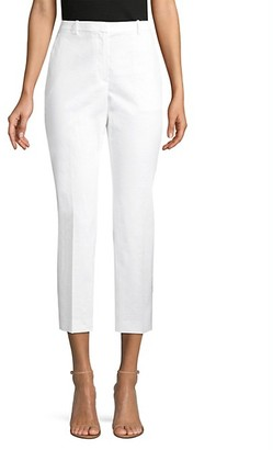 Theory Crunch Cropped Stretch-Linen Trousers