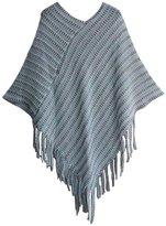 NOVAWO Womens Elegant Tassel Poncho Cape Shawls Batwing Knit Sweater Cloak