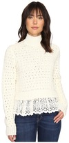 Rebecca Taylor Pop Stitch Sweater with Lace