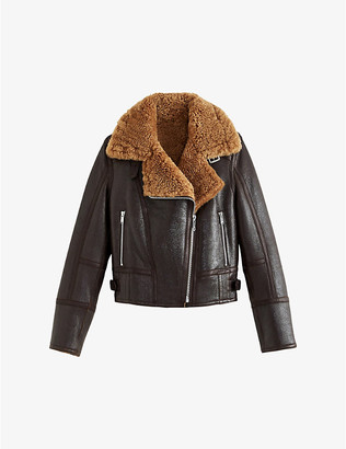 Claudie Pierlot Forentin leather and shearling jacket