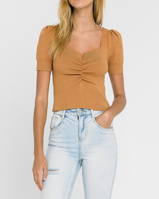 Express Endless Rose Ruched Front Knit Tee