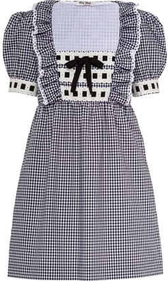 Miu Miu Embroidered Gingham Dress