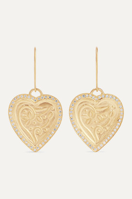 Ileana Makri Heart Beat 18 And 22-karat Gold Diamond Earrings