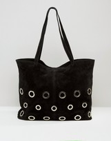 Asos Suede Shopper Bag With Eyelet Detail