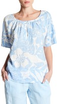 Tommy Bahama Leaf Relief Keyhole Linen Blouse