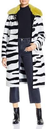 Nour Hammour Savannah Zebra-Print Real Shearling Coat