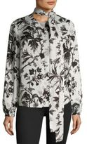 McQ by Alexander McQueen Floral Knotted Blouse