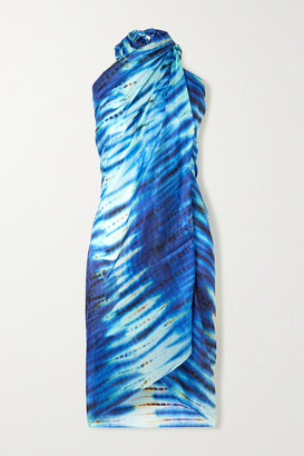 Figue Tie-dyed Silk Pareo - Blue