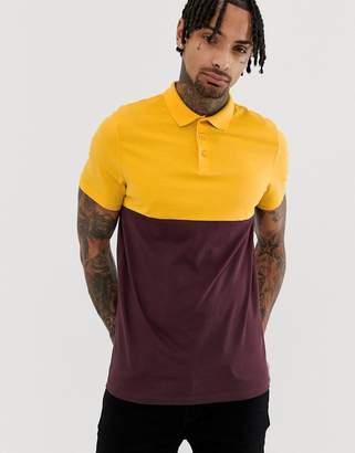 Asos Design DESIGN polo shirt with contrast yoke in burgundy-Red