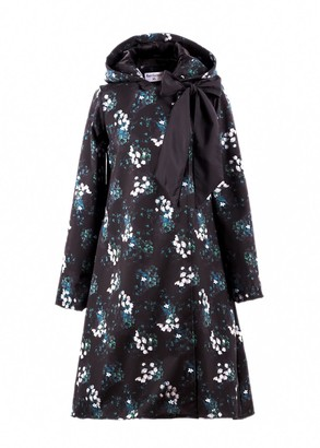 Rainsisters Floral Double Breasted Coat With A Bow: Blossom