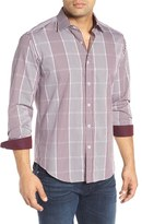 Bugatchi Men's Shaped Fit Check Stripe Sport Shirt