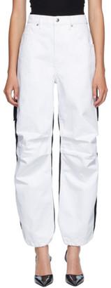 Alexander Wang White and Black Denim Hybrid Cargo Jeans
