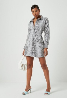 Missguided Faux Leather Snake Print Oversized Shirt Dress