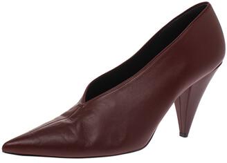 Celine Burgundy Leather V Neck Nappa Pumps Size 41