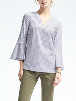 Banana Republic Multi-Stripe Flounce-Sleeve Top