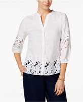 Charter Club Linen Lace-Trim Button Front Shirt, Created for Macy's